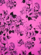 4 yds fabric - Black Roses on Pink
