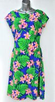 Ladies' Size S - Bright Flowers and Leaves on Blue