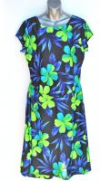 Ladies' Size XL - Green Hibiscus and Blue Leaves on Black