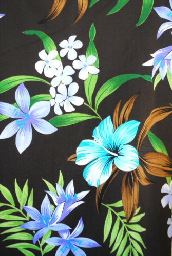 1.75 yds fabric - Hibiscus on Chocolate Brown Background