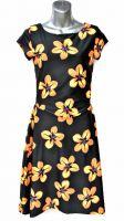Ladies' Size XS - Orange Hibiscus on Black