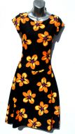Ladies' Size XS - Orange Hibiscus on Black