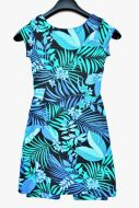 Youth Size 10 - Tropical Fern and Flowers on Black