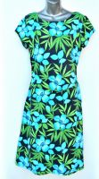 Ladies' Size XL - Tropical Flowers and Leaves on Black