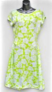Ladies' Size M - White Hibiscus on Lime Green