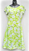 Ladies' Size L - White Hibiscus on Lime Green