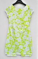 Youth Size 14 -  White Hibiscus on Lime Green